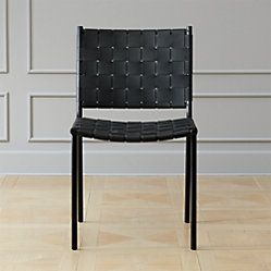 Woven Black Leather Dining Chair Black Leather Dining Chairs