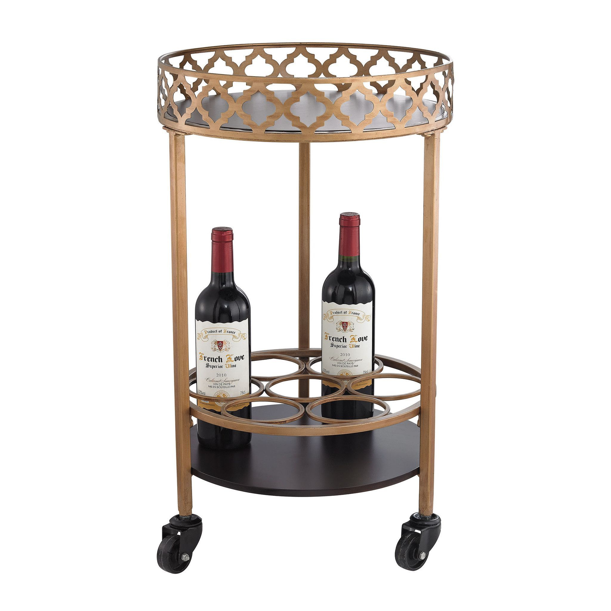 Sterling Industries Circular Quatrefoil Bar Cart 51-015