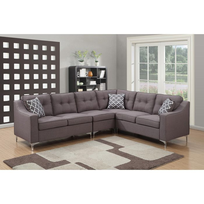 AC Pacific Kayla 4 Piece Mid Century Tufted L Shaped Sectional U0026 Reviews |  Wayfair