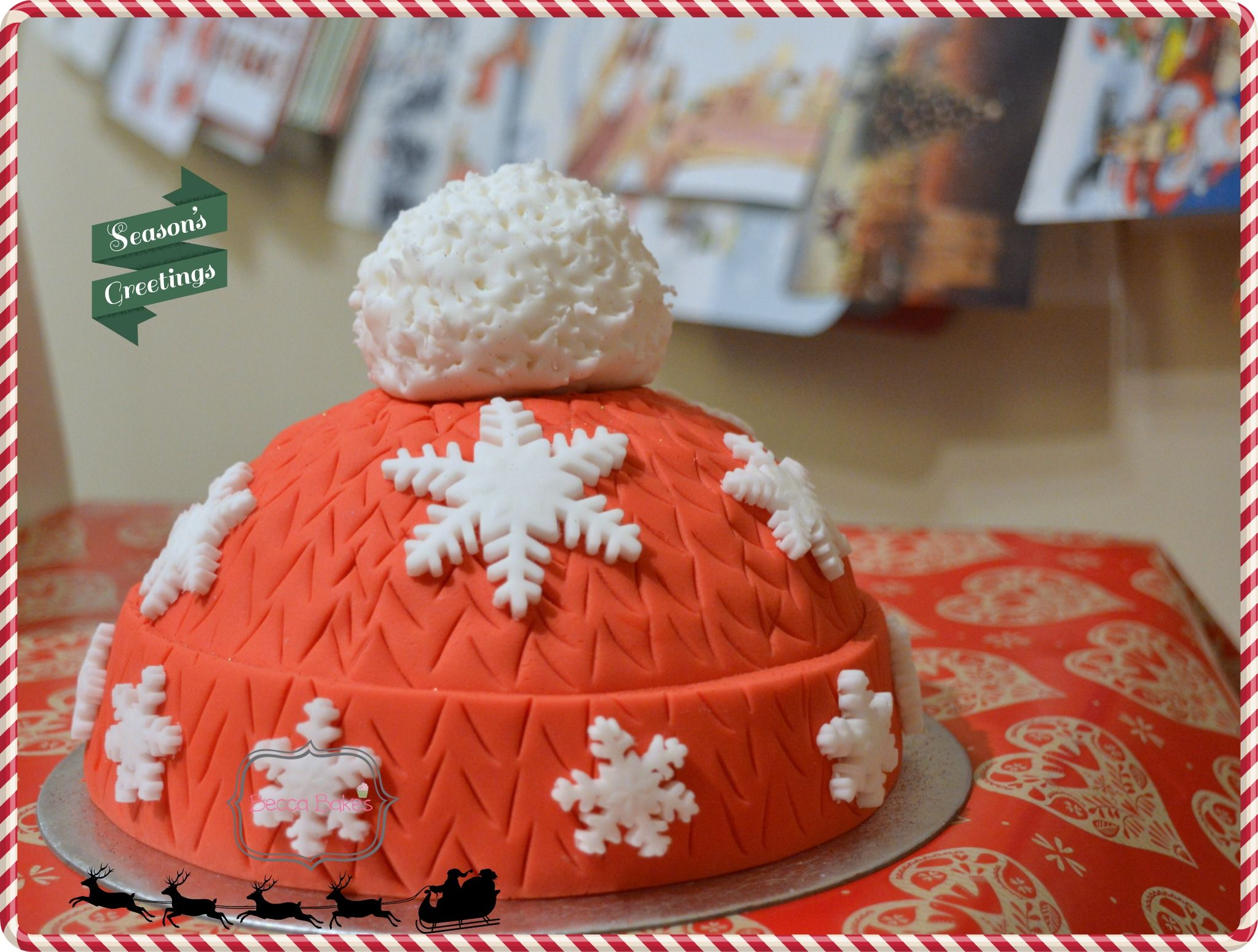 Woolly hat sponge cake, baked by Becca Bakes using the