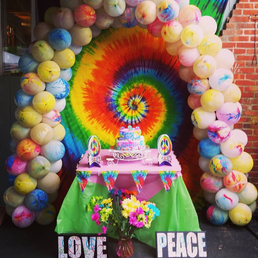 A Groovy Tie Dye Balloon Arch For A Special 10th Birthday
