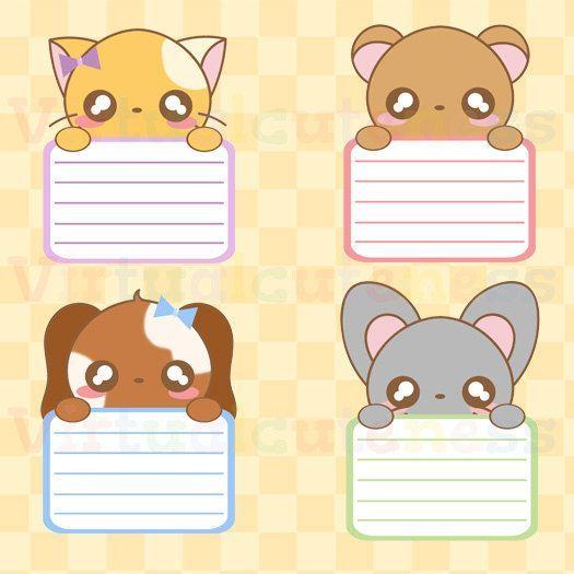 Kawaii Animal Lists Clipart Kawaii Animals Printable Stickers Cute Planner