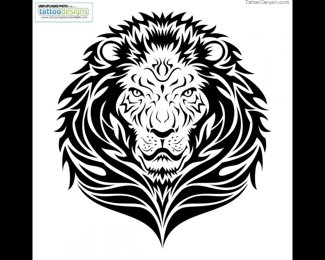 free-download-tattoo-42-lion-tribal-tattoo-design-42x42.jpg ... - Löwe Tattoo Vorlage