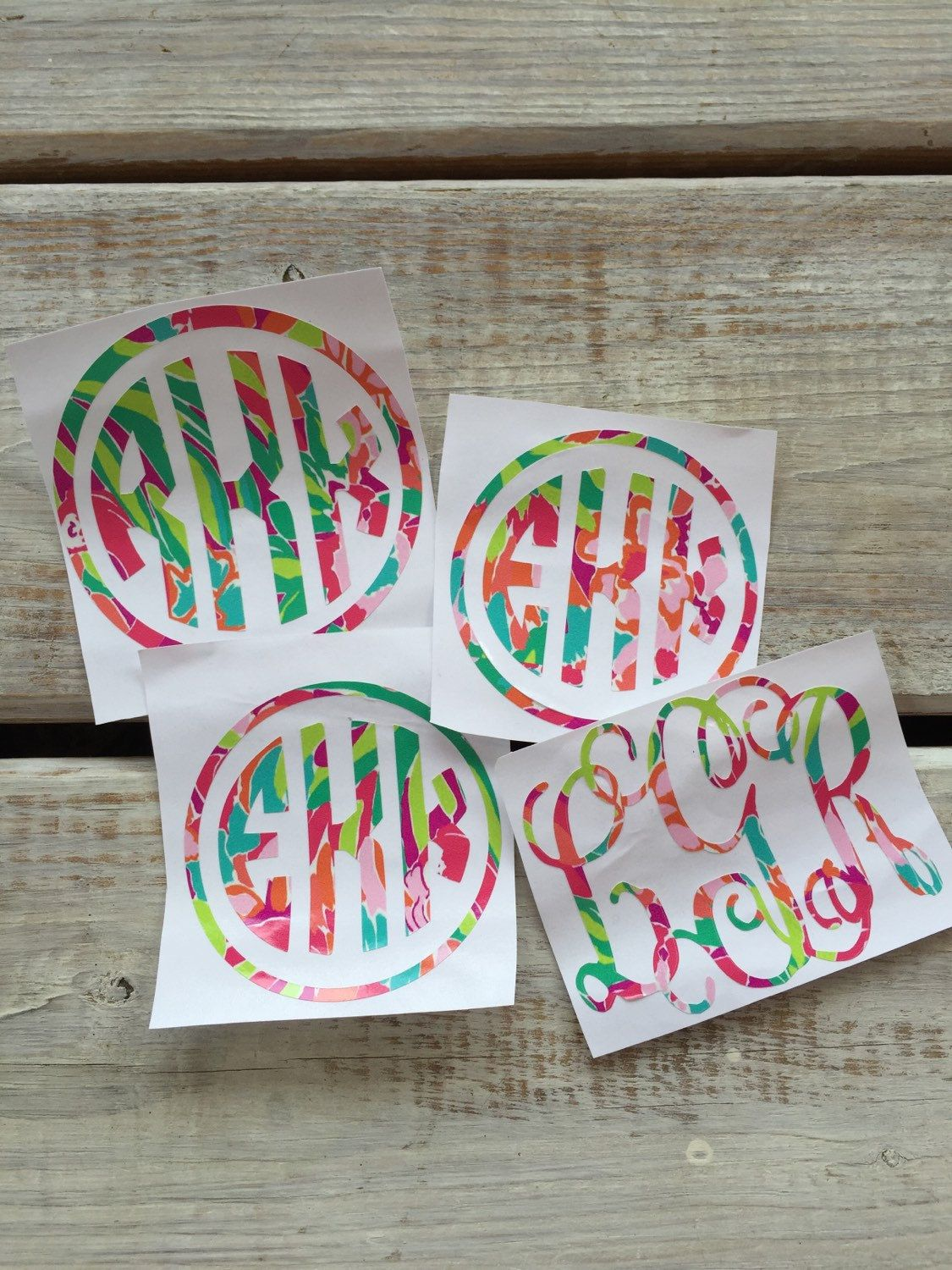 Lilly Pulitzer Lulu Monogram Decal Vinyl Monogram Yeti - Vinyl cup decals