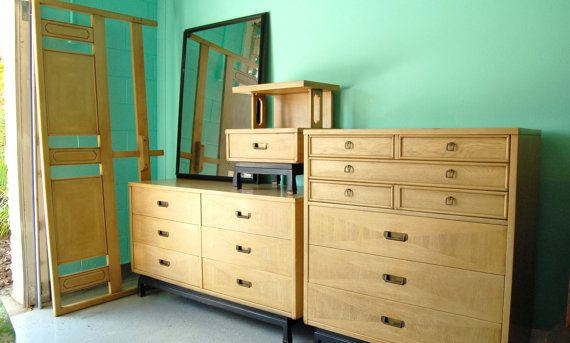 Beautiful And Rare Bedroom Set By American Of Martinsville Queen Headboard Dresser Highboy Mirror Nightstand 1450