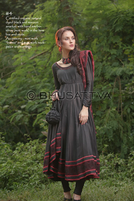 "Certified Organic Natural dyed Black and Maroon Anarkali with Hand Embroidery (Moti Work) in the Hem line and Stole.  Accessory: Moti Work ""Butwa"" and Moti work Neck Piece and Earrings.  BhuSattva - Essence of Earth (www.bhusattva.com)  ‪#‎BhuSattva‬ ‪#‎CerifiedOrganic‬ ‪#‎ResponsibleLuxury‬ ‪#‎OrganicClothing‬ ‪#‎WomenWear‬ ‪#‎DesignerWear‬"