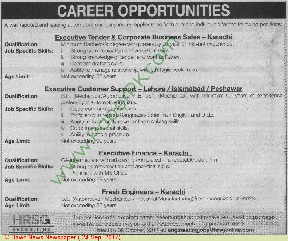 Hrsg Recruiting Karachi Jobs Jobs In Pakistan Pinterest - automobile sales contract