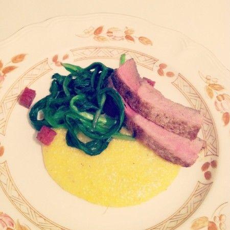 Ramp Week: Pork Chops With Roasted Ramps and Polenta