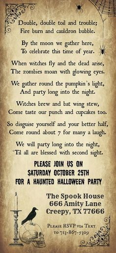 Print your Halloween Party Invitations with our Free Template - free template for party invitation