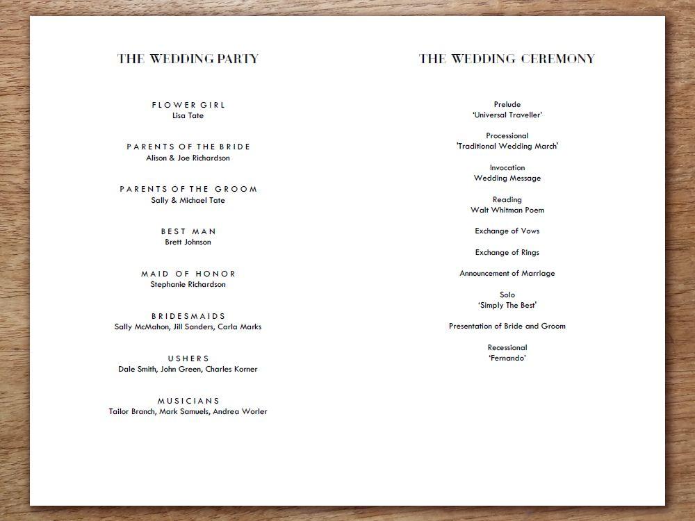 printable wedding program classic black and white weddings diy