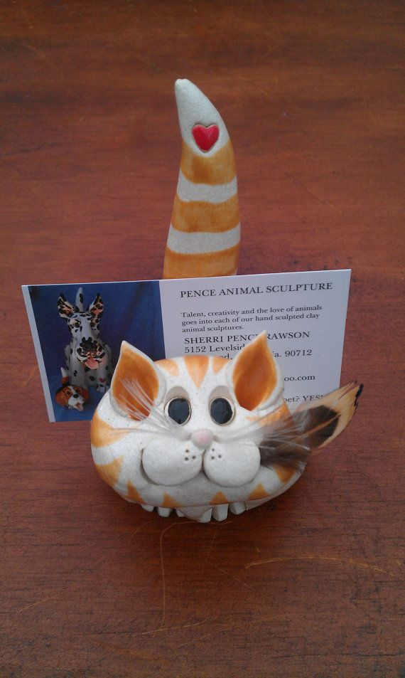 PENCE, orange tabby cat business card/ scratch pad holder | Orange ...