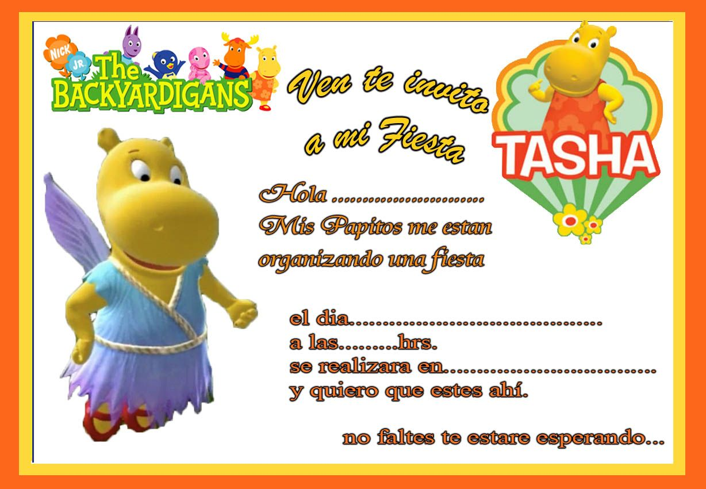 Tarjetas de cumpleaños para imprimir Tarjeta de Invitacion de Backyardigans Tasha Cotillón