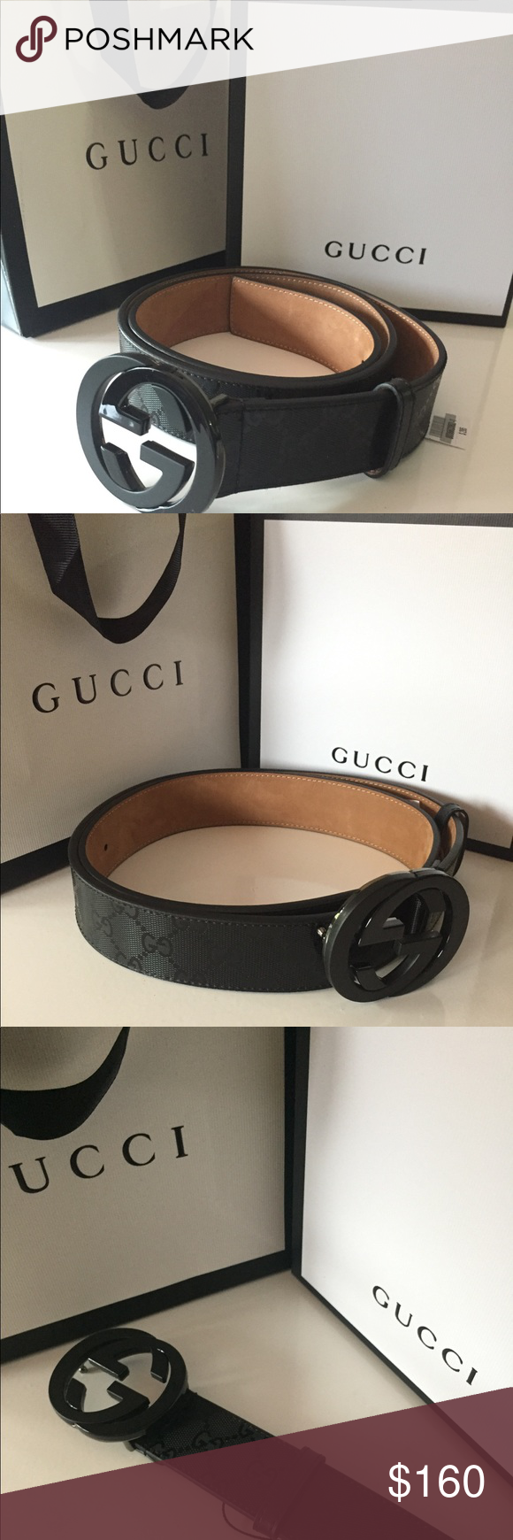 42916c710 Gucci Black Imprime Belt Authentic Gucci Belt- Black Imprime Shiny Print  with Black interlocking GG Buckle. Comes with box and dust bag.