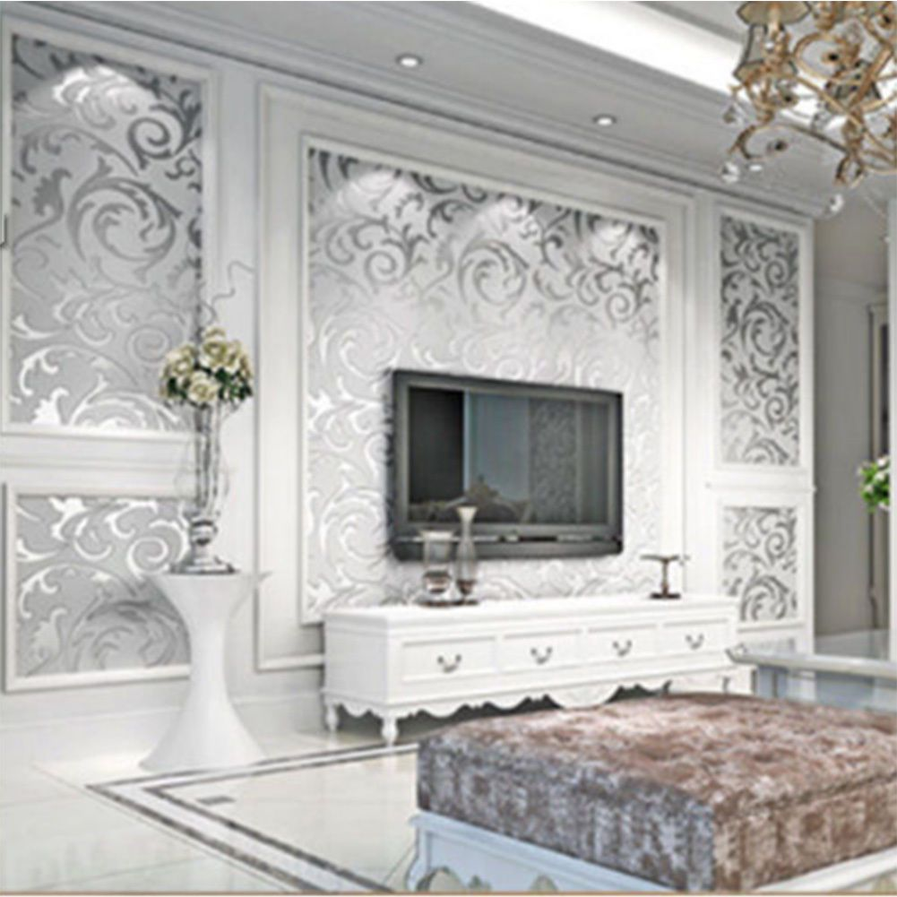 8.99 GBP - Luxury Silver Acanthus Leaf Feature Designer Wallpaper ...