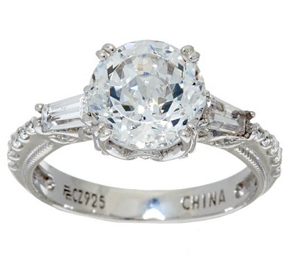 Epiphany Diamonique 100 Facet Ring J325071 Qvc Com Faceted Ring Rings Jewelry