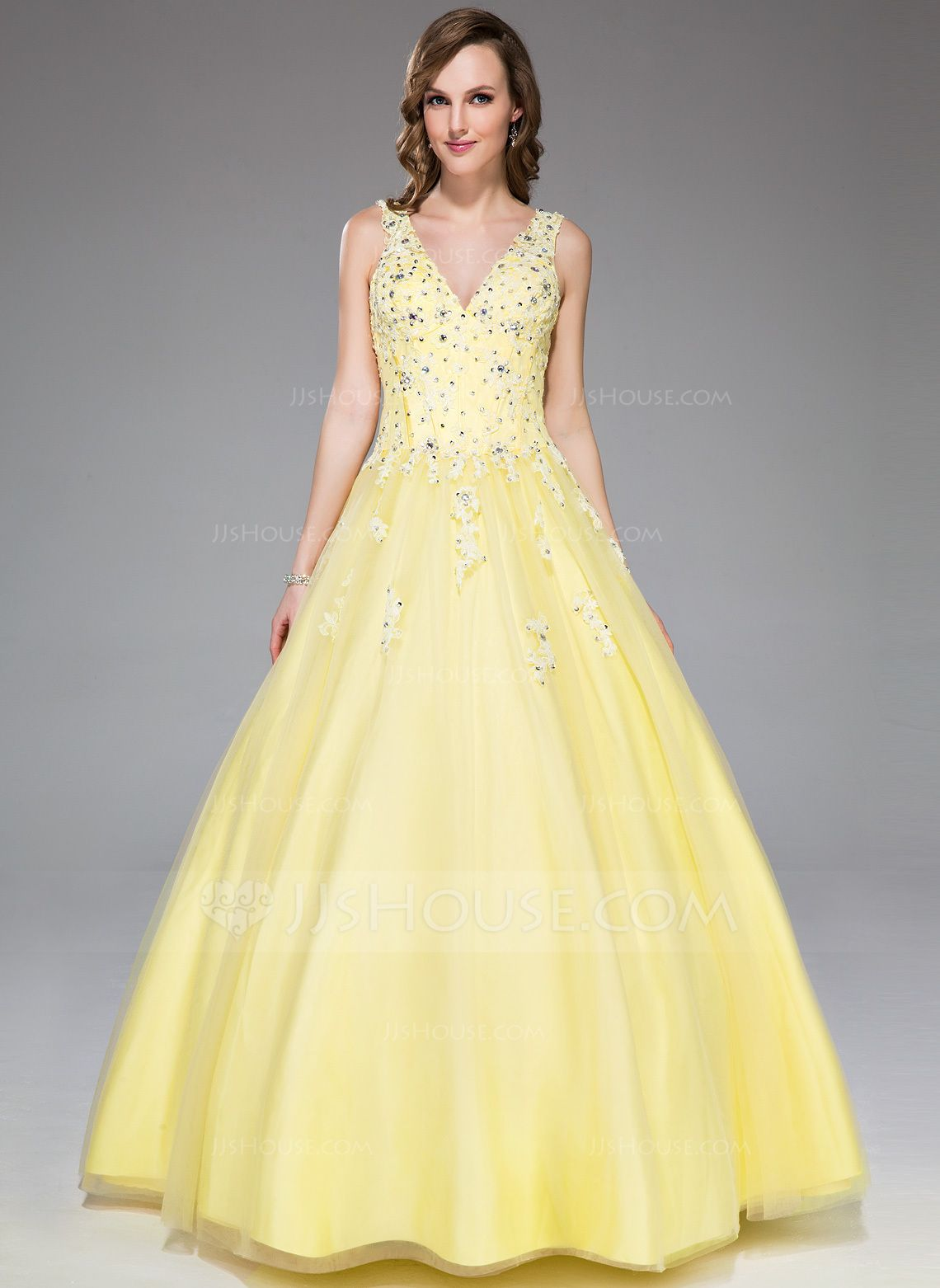 f5c8b04975be Ball-Gown V-neck Floor-Length Satin Tulle Prom Dress With Lace Beading  Sequins (017045177) - JJsHouse
