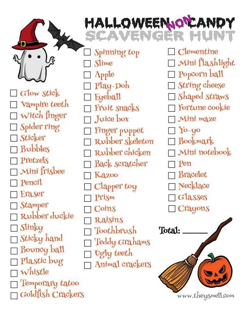 Halloween NonCandy Scavenger Hunt Printable Halloween