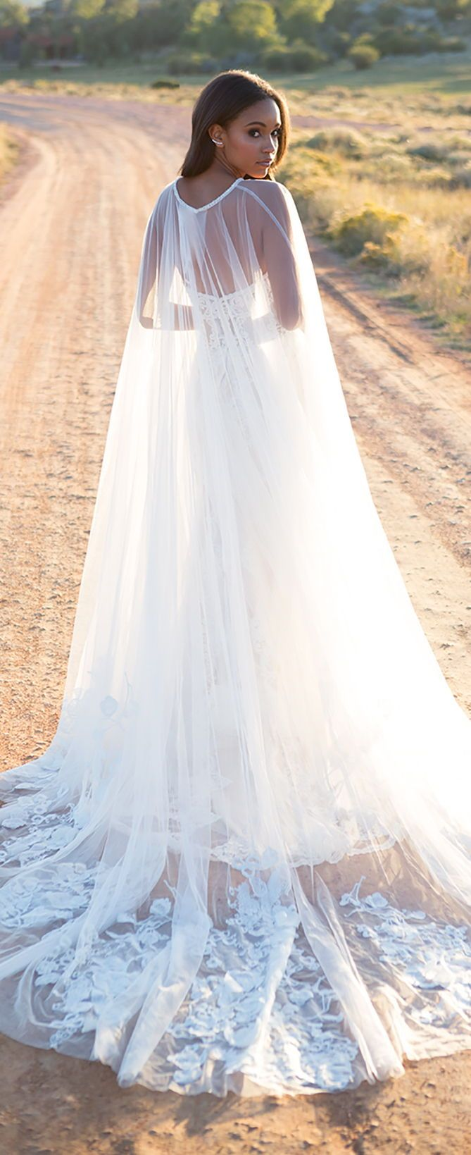 Wedding dress with cape by Allure Bridals #ad @allurebridals ...