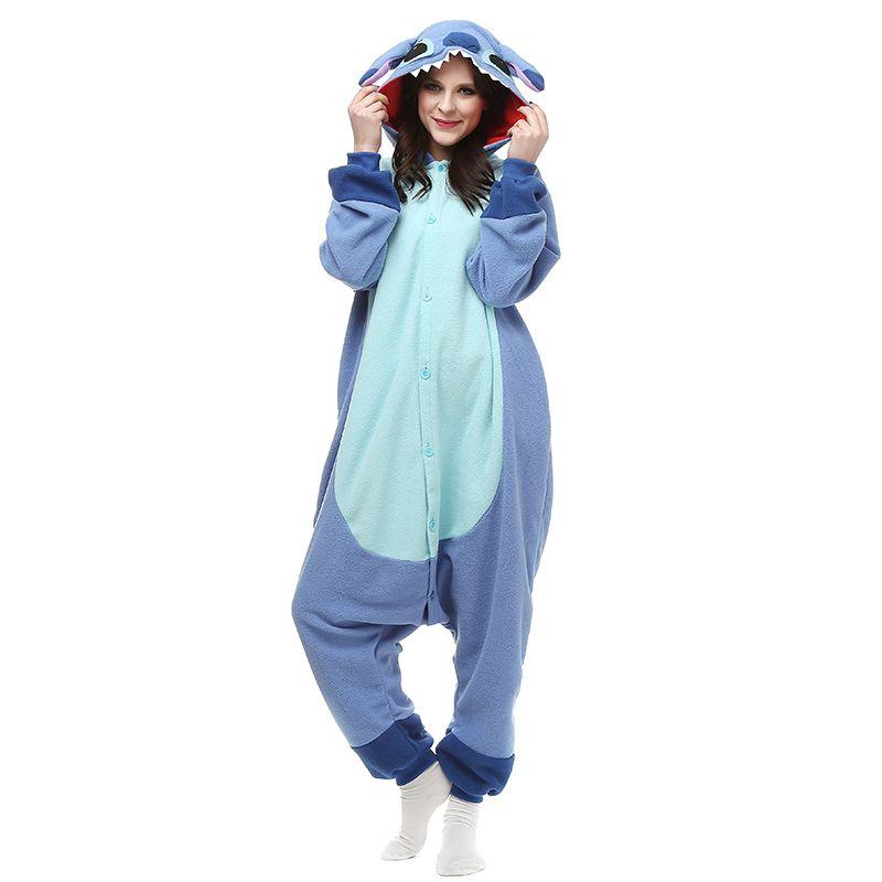 42857718d7 Stitch Blue Polar Fleece Cartoon Cosplay Costumes Comfy Leisure Animal  Onesies Pajamas Jumpsuit for Teens Adults Mens Womens Homewear Cheap