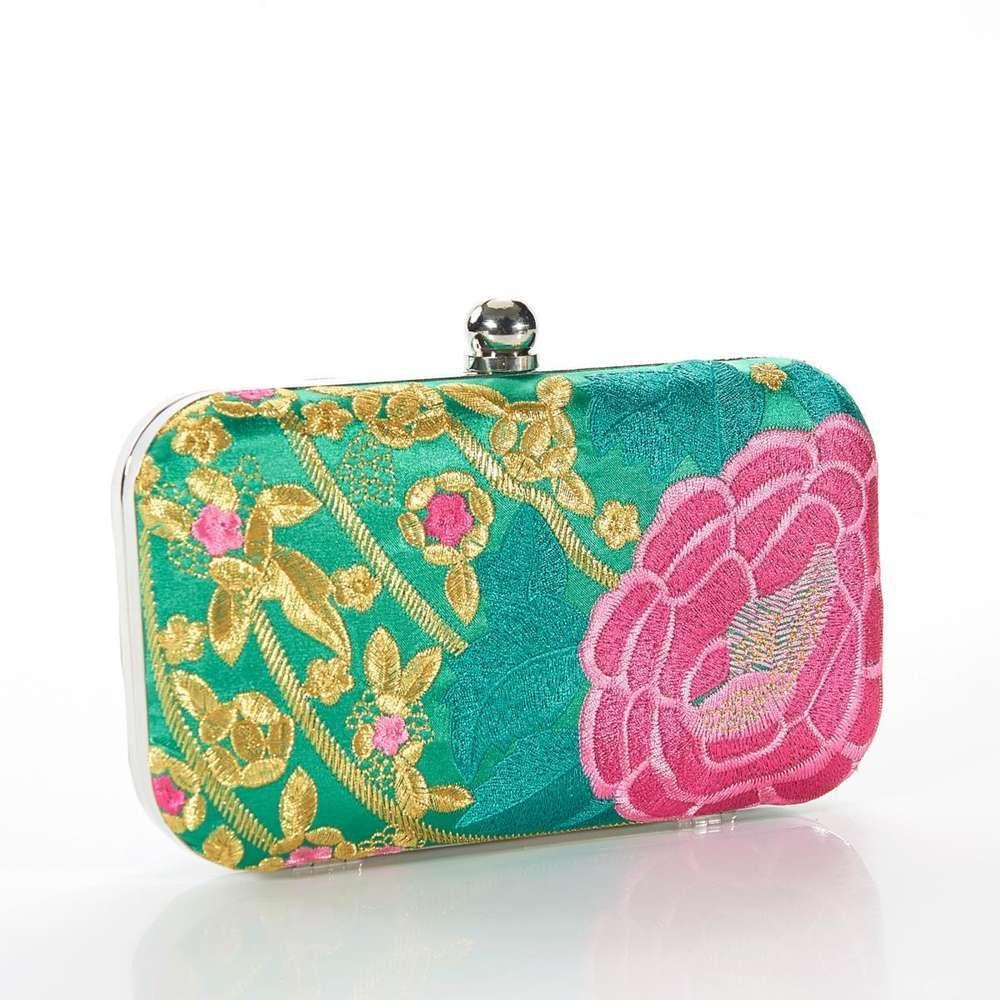 Embroidered Hard Clutch Top Clasp Handbag Floral Vintage