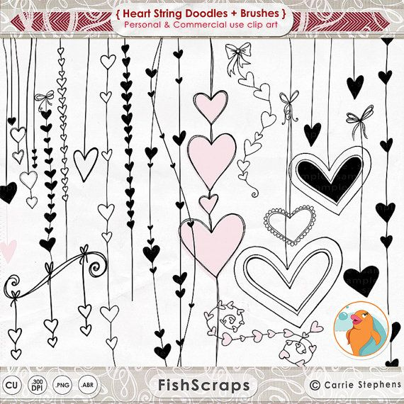 Heart Clip Art. Hand Drawn Doodles - Valentine Clip Art pieces. This set of Decorative Design Elements contains 22-25 individual clip art - and 1 .ABR