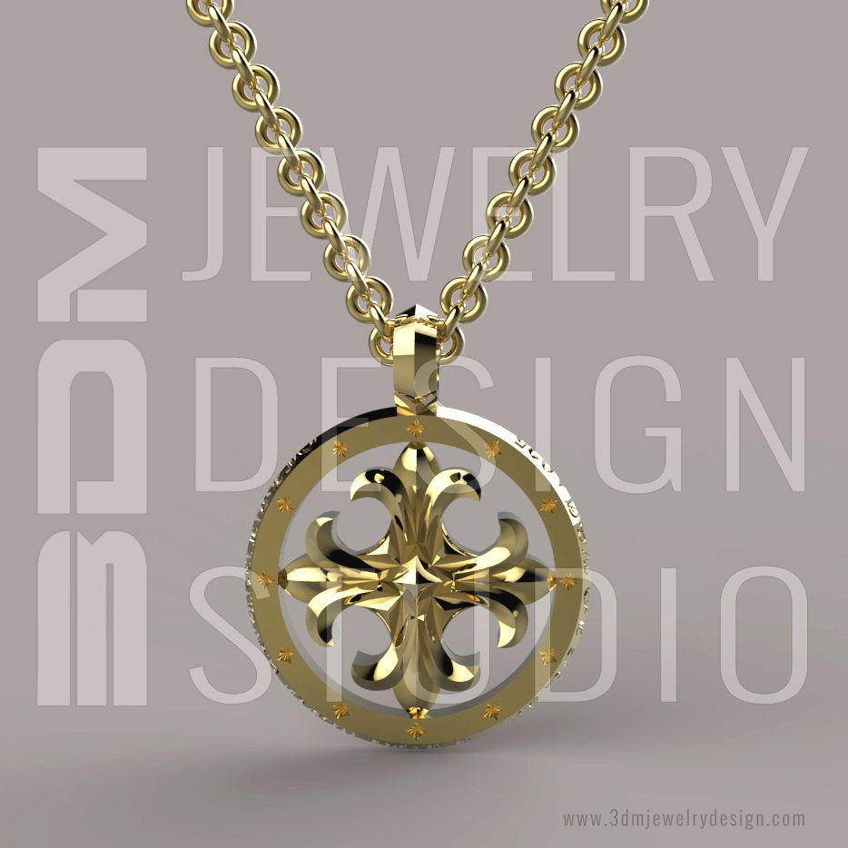 Gold Cross Charm Pendant 3D CAD Design Rendering by 3DM Jewelry