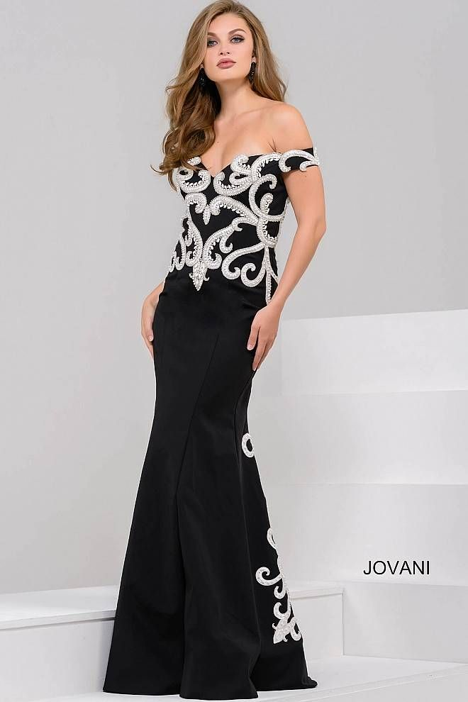 4e679ce13f4a Black and White off the Shoulder Mermaid Dress 51534 in 2019 ...