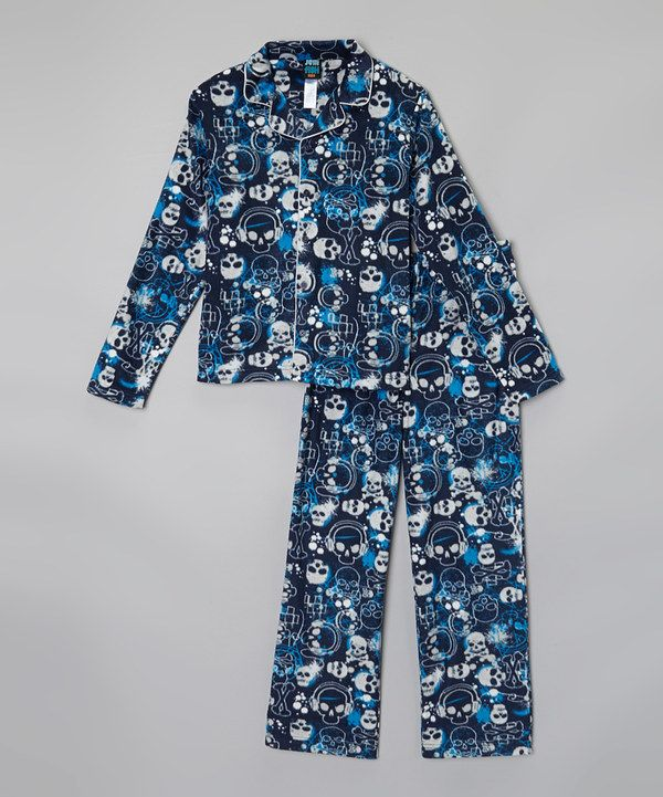 Look at this jelli fish kids Navy Skull Pajama Set - Boys on #zulily today!