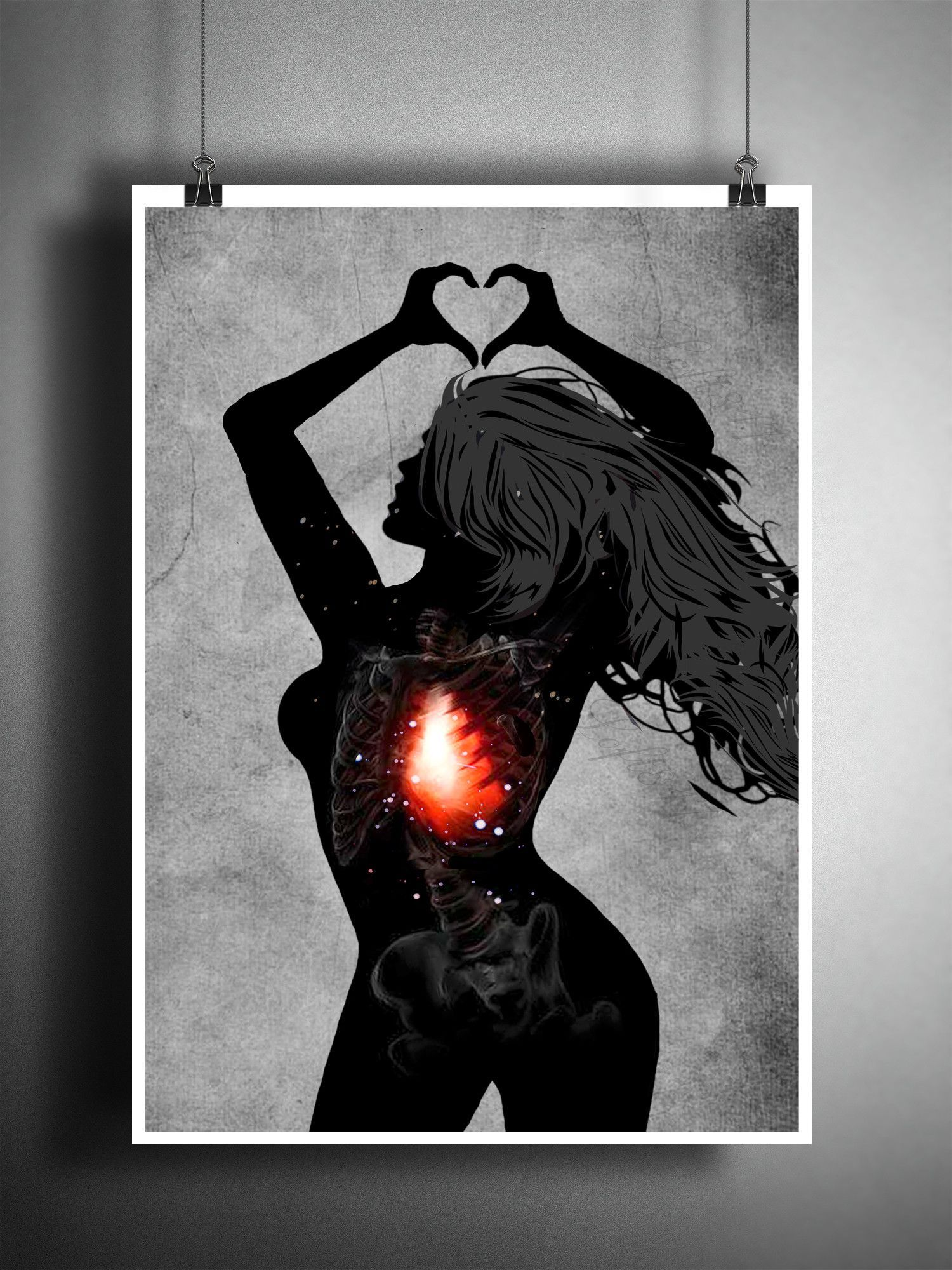 Star girl red heart silhouette heart hands female form art