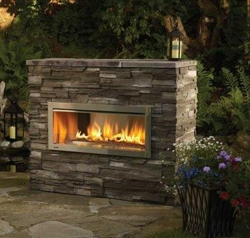 Narrow, Modular Outdoor Gas Fireplace