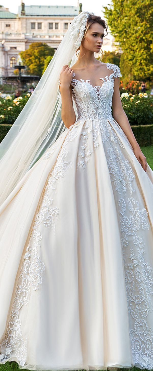 Ball gown wedding dress with sleeves  Gorgeous Tulle Scoop Neckline Ball Gown Wedding Dress With Beaded