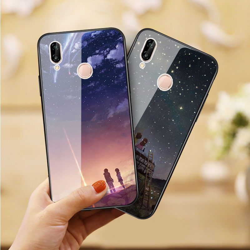 watch 67e8a 57092 $4.99 - Cute Pattern Tempered Glass Back Case Cover Skin For Huawei ...
