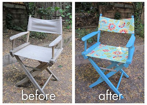 Started With A Pier 1 Director Chair That Had Been Left Out In The Rain And  Gotten Mildewy. Sanded, Primed, Painted And Replaced With Outdoor Fabric  For A ...
