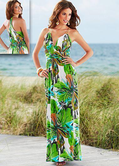Green multi floral print maxi  from Venus.com