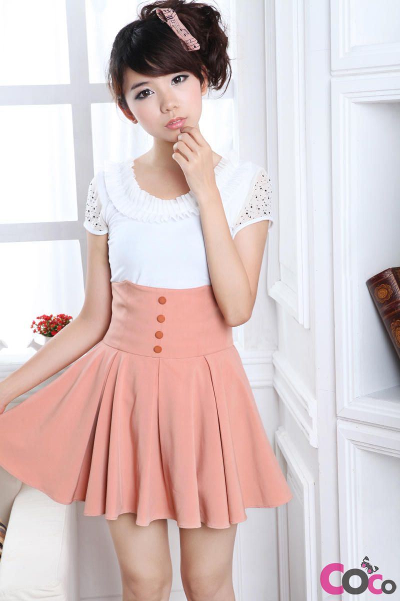 Pink High Weist Globed Cute Korean Fashion Summer Skirt man if ...
