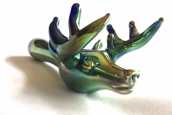 Realistic Deer Glass Pipe Smoking Bowl, Buck, Antler