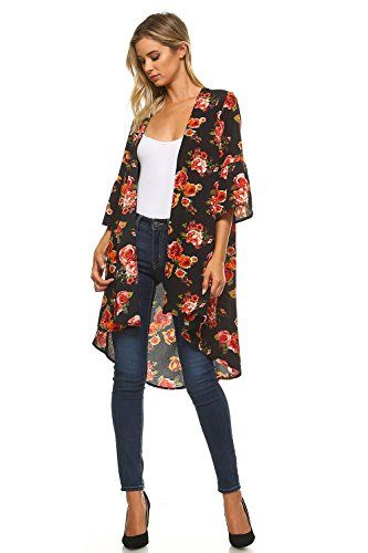 a4dc47af11 Frumos Womens Lightweight Printed Open Front Long Cardigan Made In ...