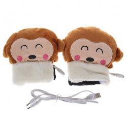 Monkey Pattern Comfortable Plush USB Electric Heating Gloves (Brown)