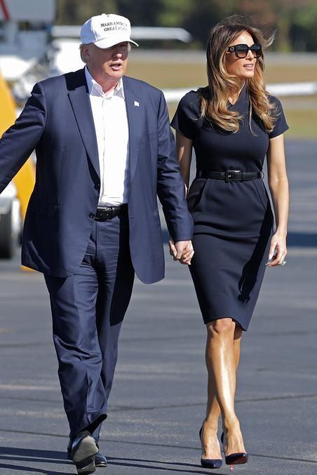 9899697656b9 Melania Trump wearing Christian Louboutin So Kate Pumps in Blue