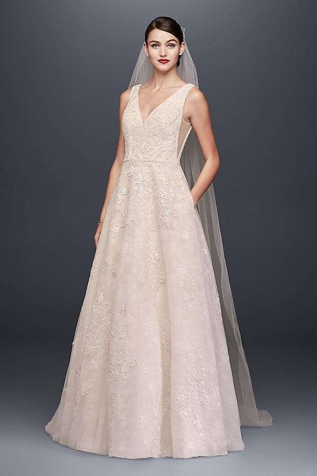 Appliqued Tulle-Over-Lace Tank A-Line Wedding Dress by Oleg Cassini ...