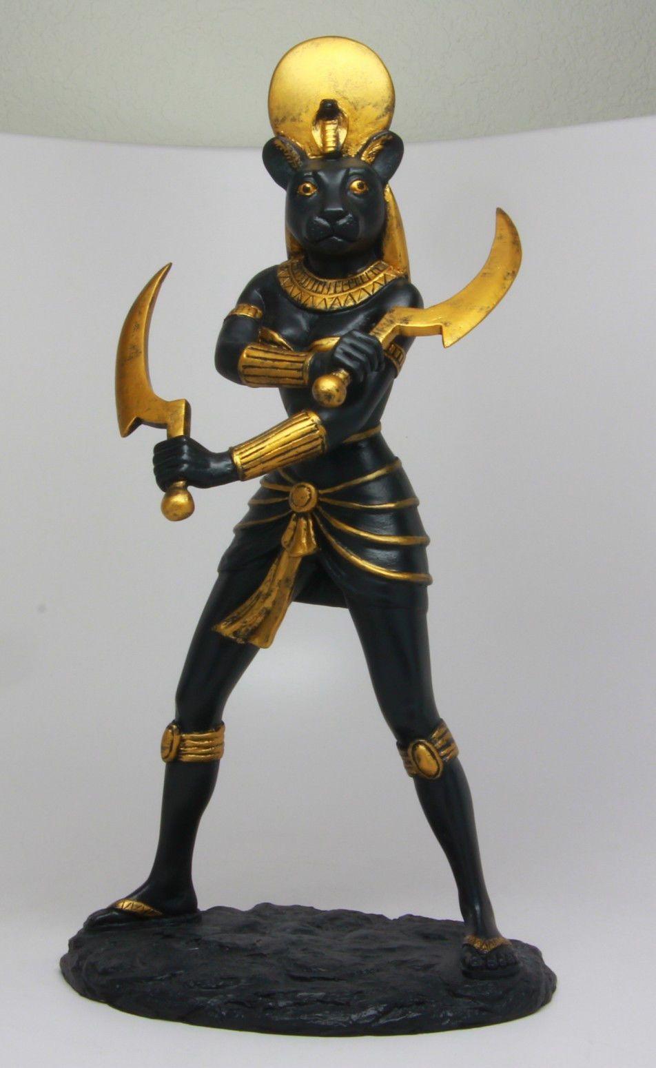 Black Gold Sekhmet Statue Sachmis Ancient Egyptian Goddess ...