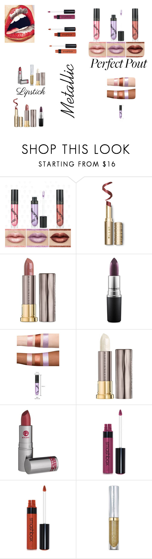 """Metallic Lips"" by jbillington ❤ liked on Polyvore featuring beauty, Urban Decay, MAC Cosmetics, Lipstick Queen, Smashbox and metalliclipstick"