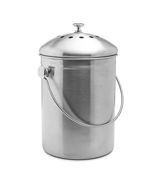 Compost Bin Stainless Steel 1 Gallon Kitchen Epica Home Countertop