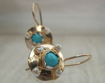 Aquamarine Earrings Colorful Clover Earrings by yifatbareket