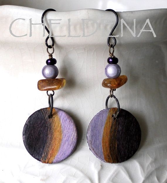 NEW Hand Painted Gilded Wood Earrings with Baltic by cheldena, $12.00