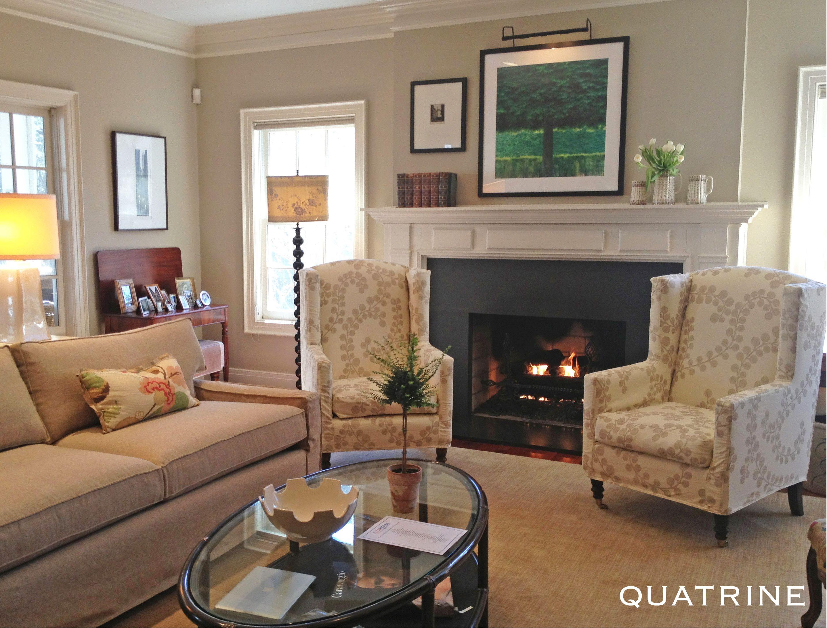 quatrine furniture. Beautiful Michigan Home Featuring Two Modern Wingback Chairs In Berry Branch/Gold And A New Quatrine Furniture I