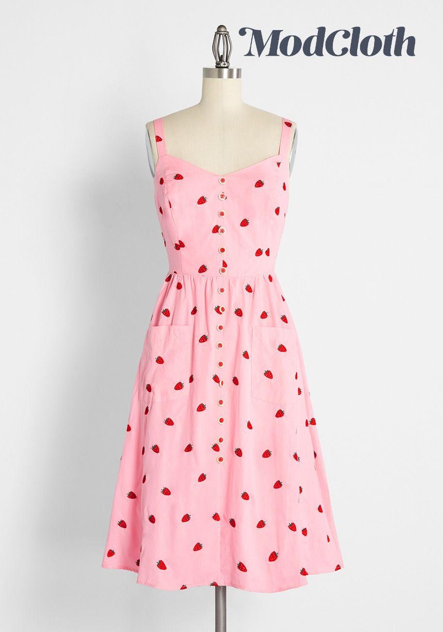 Strutting Through Strawberry Fields Midi Dress In 2021 Midi Dress Pink Sundress Dresses [ 1303 x 913 Pixel ]