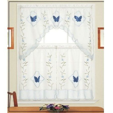 Blue Butterfly Kitchen Curtains Country Kitchen Curtains Blue