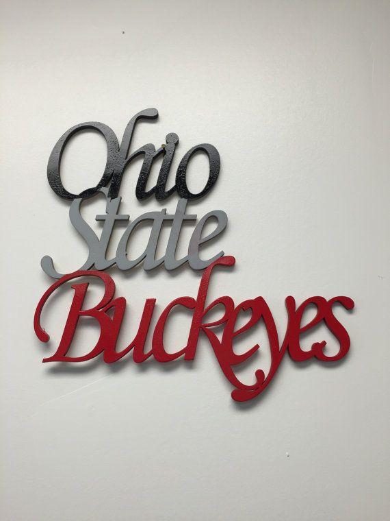 Ohio State Buckeyes word cut out. Buckeyes script wood cut out with painted words. Ohio State Buckeyes wall art. Buckeyes fan.