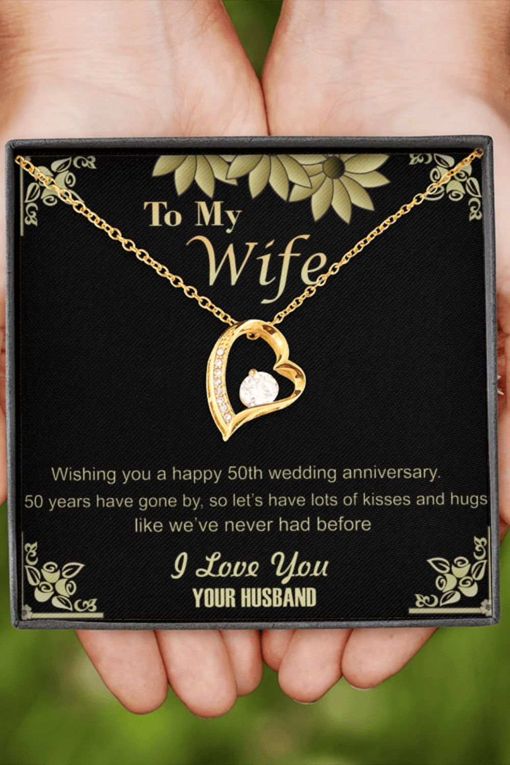 50th Golden Wedding Anniversary Pendant Necklace Gift For Wife Her Gold Present Jewelry Ideas In 2020 50th Wedding Anniversary Wishes Golden Wedding Anniversary Anniversary Jewelry Gifts